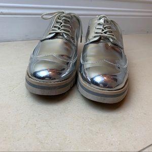 Zara Shoes - Zara Metallic Silver Oxford Platform Sneakers